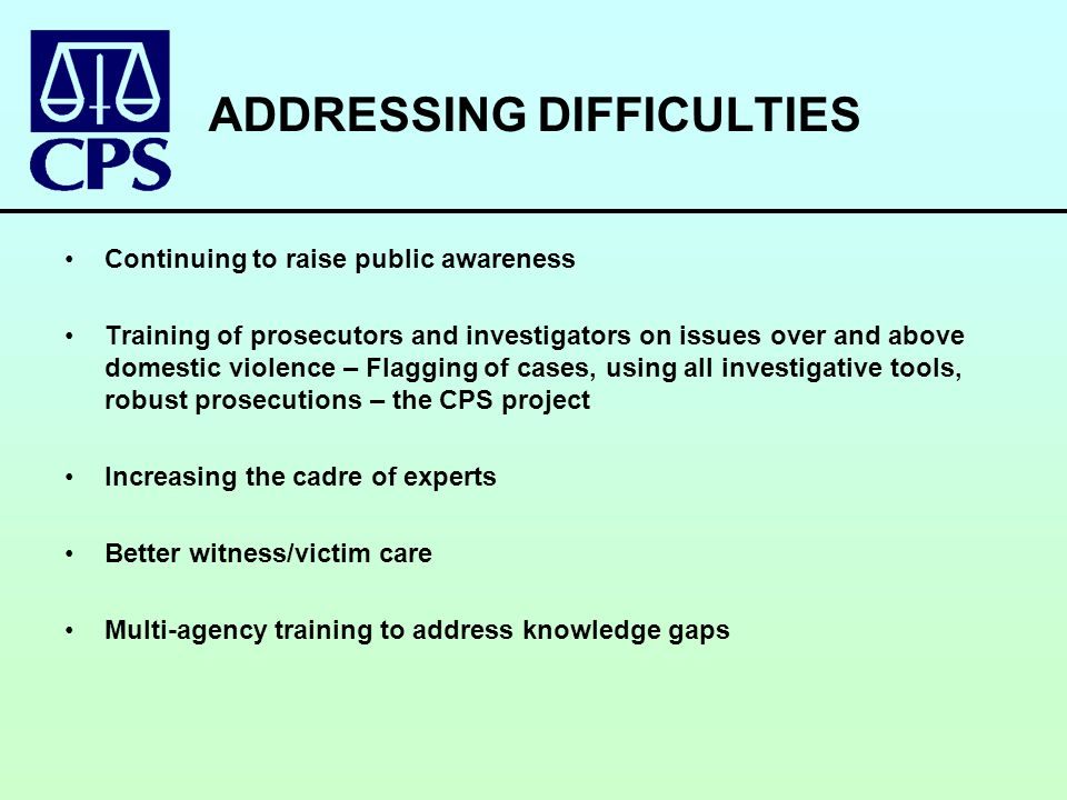 ADDRESSING DIFFICULTIES Continuing to raise public awareness Training of prosecutors and investigators on issues over and above domestic violence – Flagging of cases, using all investigative tools, robust prosecutions – the CPS project Increasing the cadre of experts Better witness/victim care Multi-agency training to address knowledge gaps