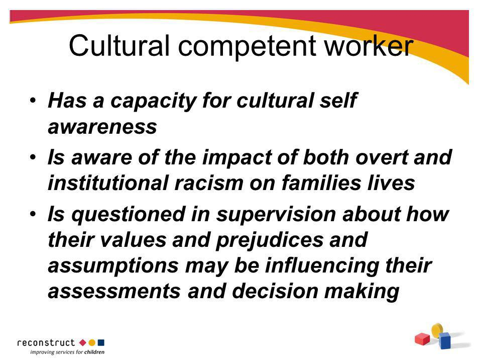 Cultural competent worker Has a capacity for cultural self awareness Is aware of the impact of both overt and institutional racism on families lives I