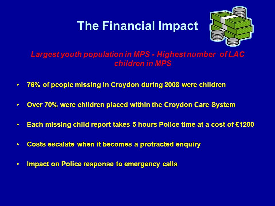 The Financial Impact Largest youth population in MPS - Highest number of LAC children in MPS 76% of people missing in Croydon during 2008 were children Over 70% were children placed within the Croydon Care System Each missing child report takes 5 hours Police time at a cost of £1200 Costs escalate when it becomes a protracted enquiry Impact on Police response to emergency calls