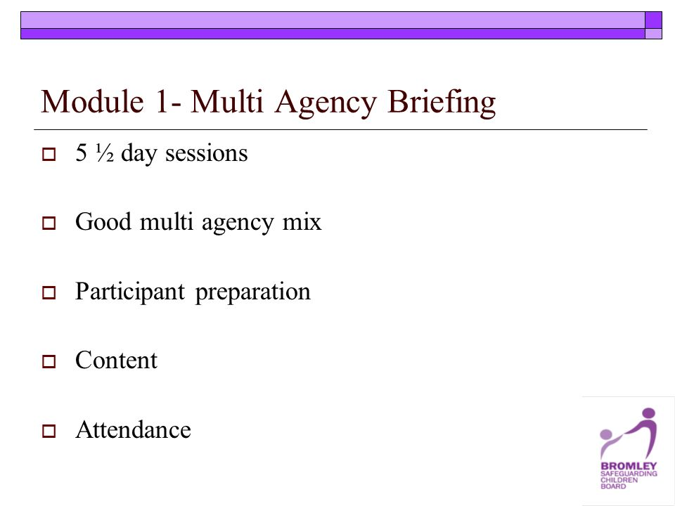 Module 1- Multi Agency Briefing 5 ½ day sessions Good multi agency mix Participant preparation Content Attendance