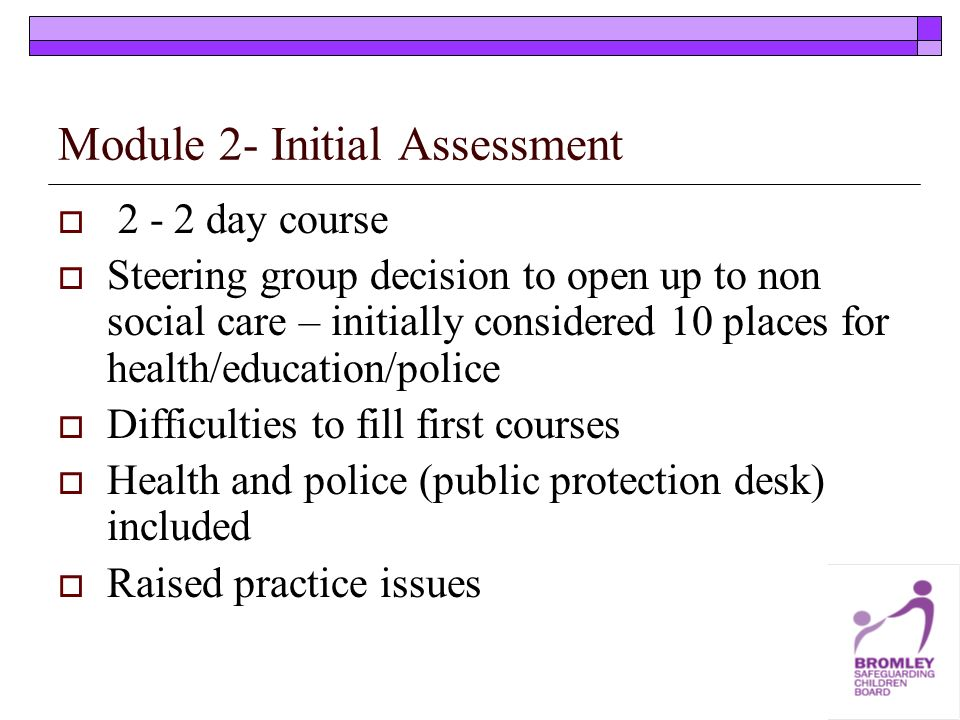 Module 2- Initial Assessment 2 - 2 day course Steering group decision to open up to non social care – initially considered 10 places for health/educat