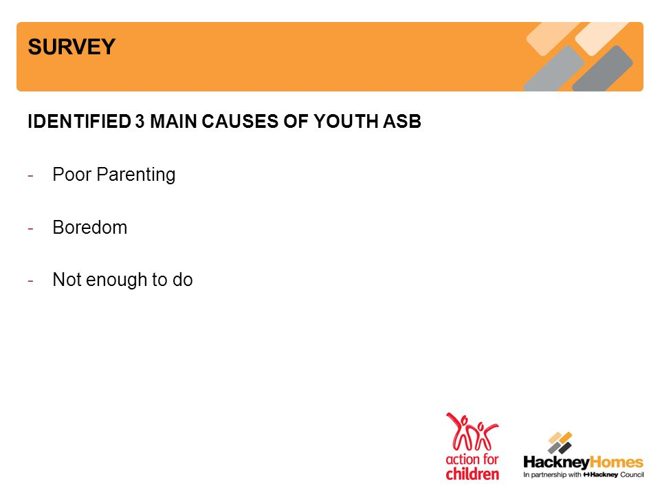 SURVEY IDENTIFIED 3 MAIN CAUSES OF YOUTH ASB -Poor Parenting -Boredom -Not enough to do