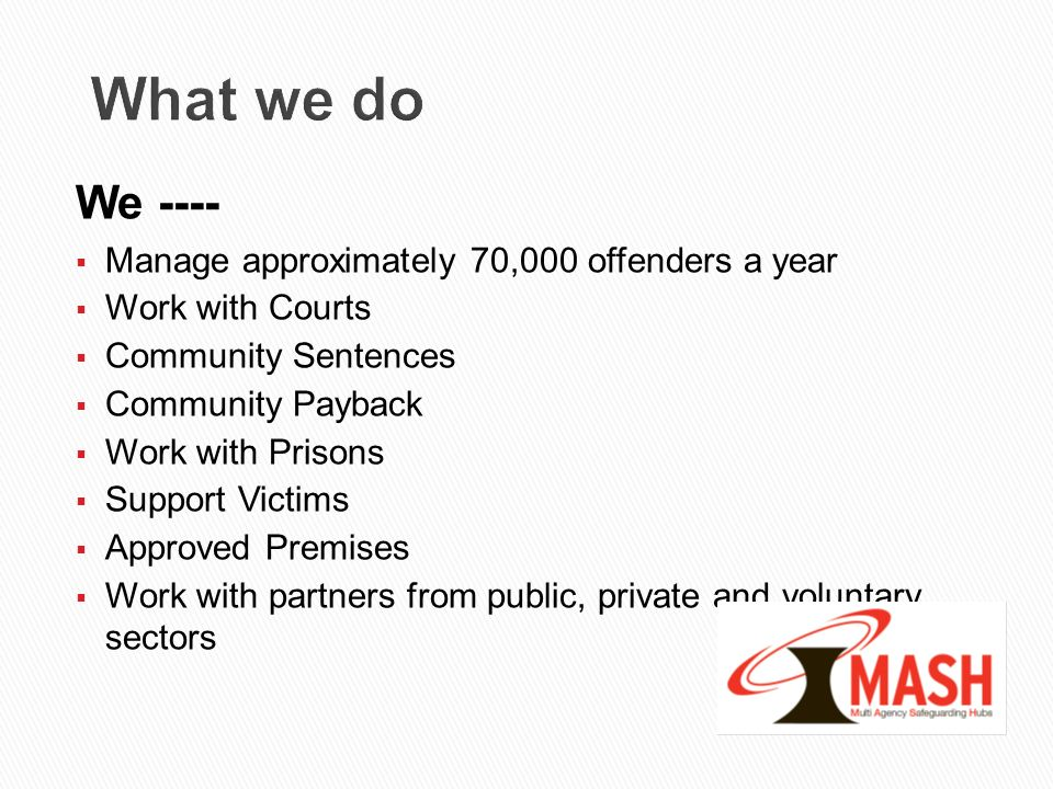What we do We ---- Manage approximately 70,000 offenders a year Work with Courts Community Sentences Community Payback Work with Prisons Support Victi