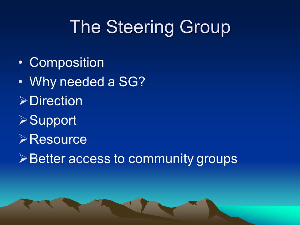The Steering Group Composition Why needed a SG? Direction Support Resource Better access to community groups