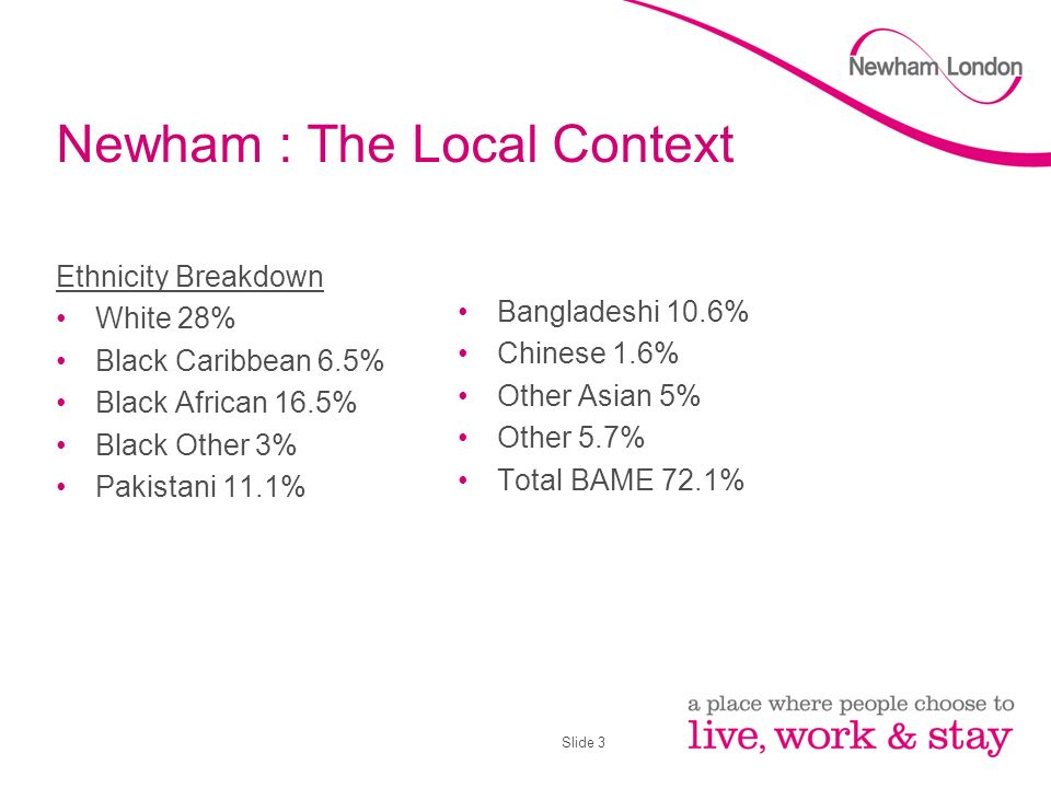 Slide 3 Newham : The Local Context Ethnicity Breakdown White 28% Black Caribbean 6.5% Black African 16.5% Black Other 3% Pakistani 11.1% Bangladeshi 10.6% Chinese 1.6% Other Asian 5% Other 5.7% Total BAME 72.1%