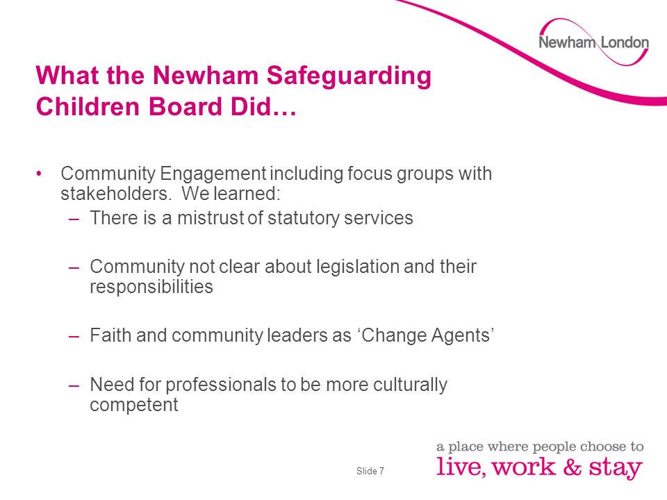 Slide 7 What the Newham Safeguarding Children Board Did… Community Engagement including focus groups with stakeholders.