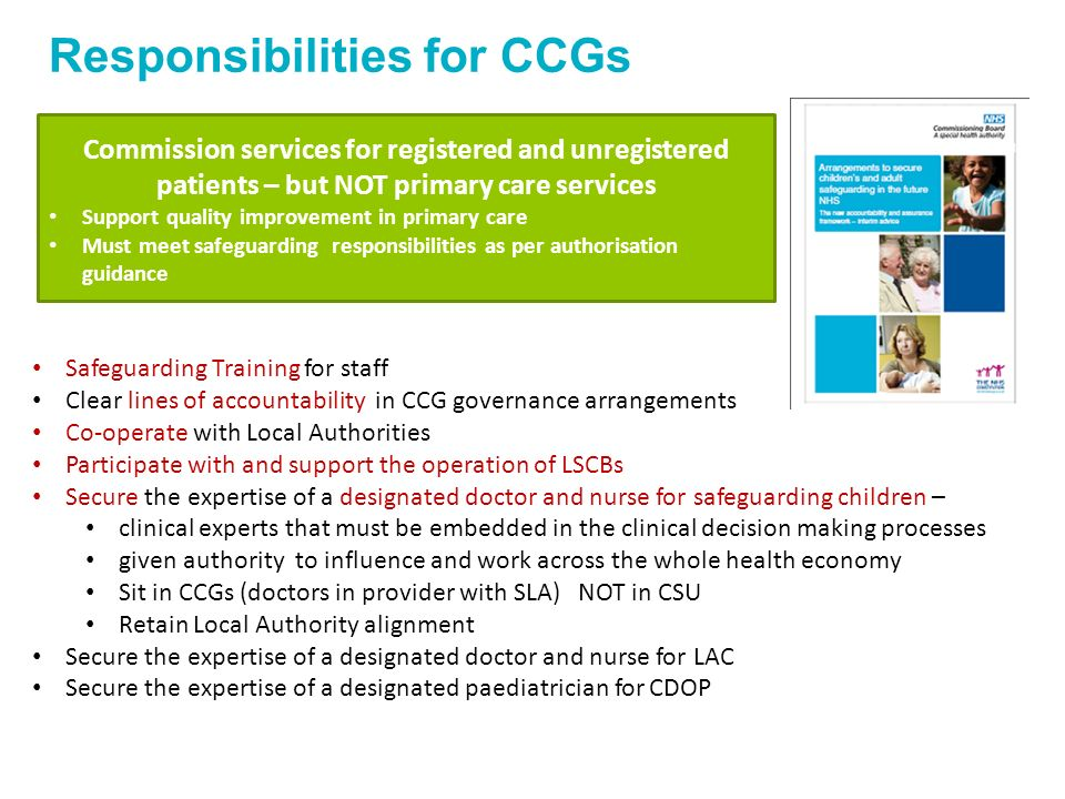 Responsibilities for CCGs Commission services for registered and unregistered patients – but NOT primary care services Support quality improvement in