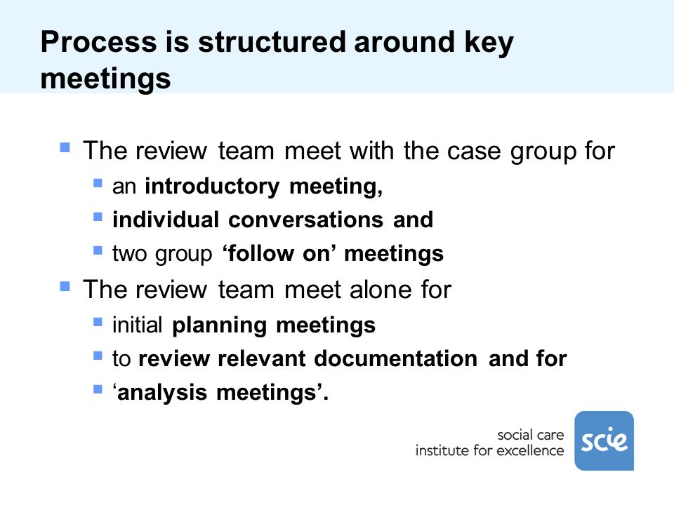Process is structured around key meetings The review team meet with the case group for an introductory meeting, individual conversations and two group