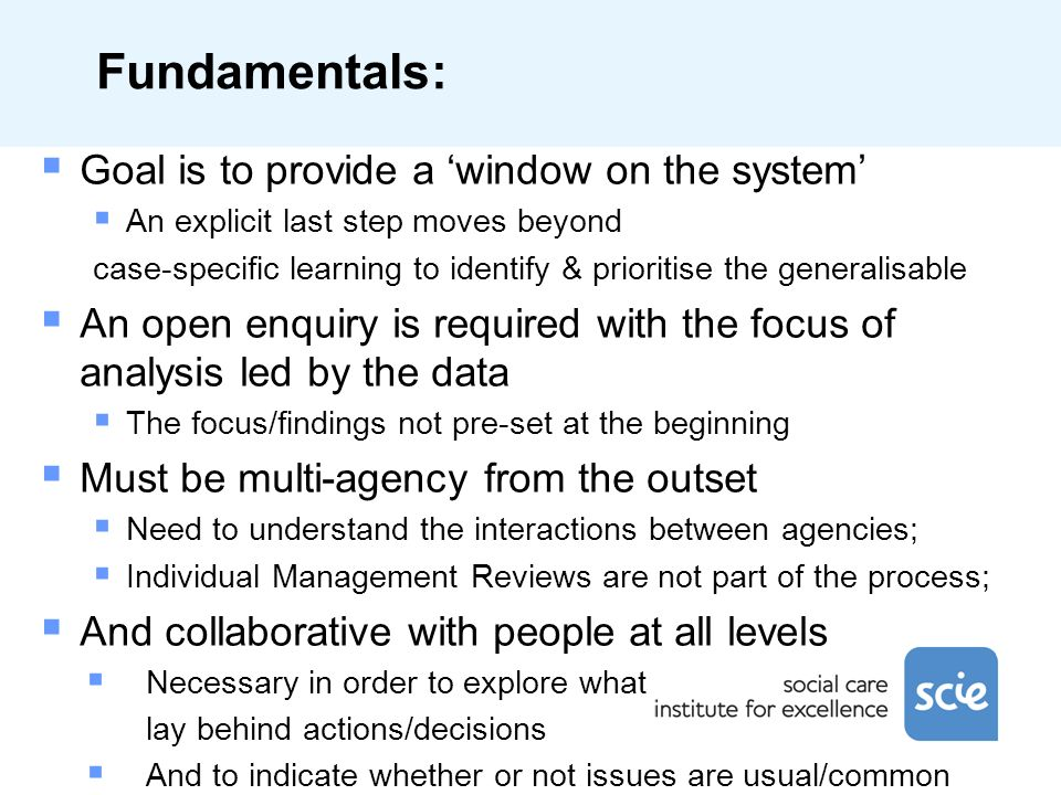 Fundamentals: Goal is to provide a window on the system An explicit last step moves beyond case-specific learning to identify & prioritise the general