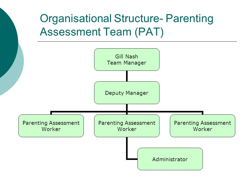 Organisational Structure- Parenting Assessment Team (PAT) Gill Nash Team Manager Deputy Manager Parenting Assessment Worker Administrator Parenting Assessment Worker