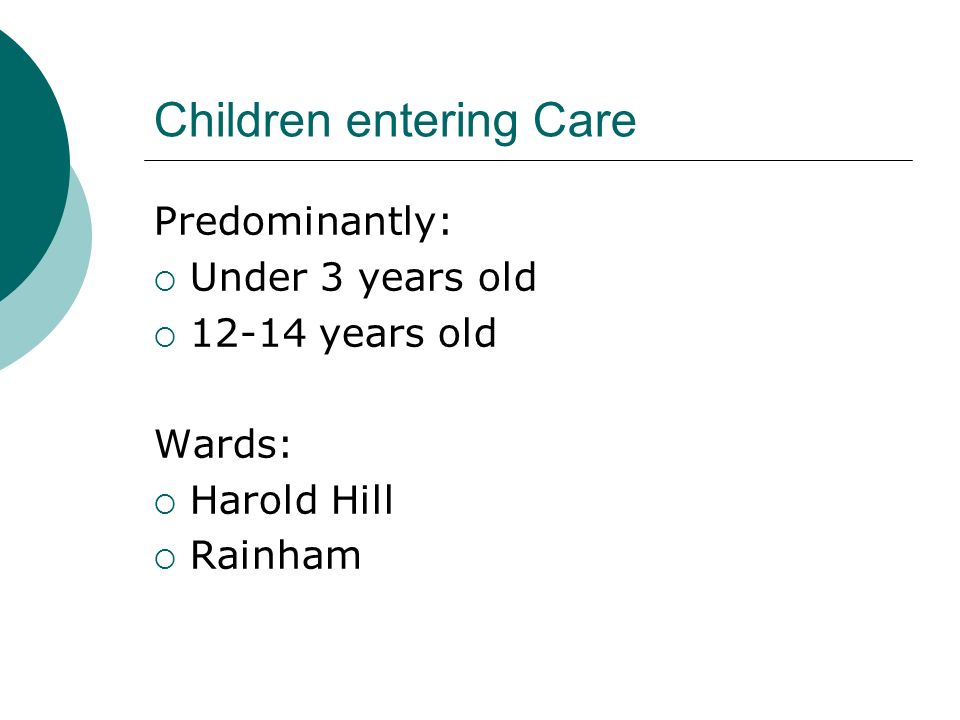 Children entering Care Predominantly: Under 3 years old 12-14 years old Wards: Harold Hill Rainham