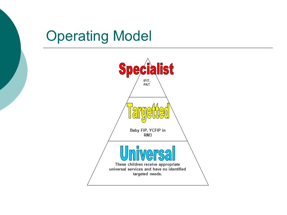 Operating Model These children receive appropriate universal services and have no identified targeted needs.