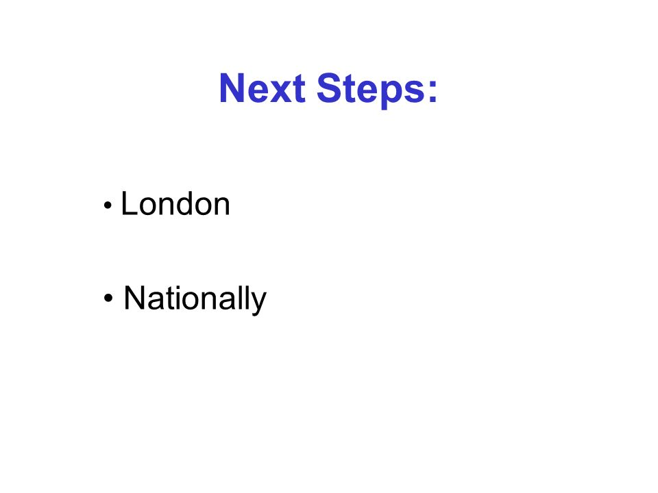 London Nationally Next Steps: