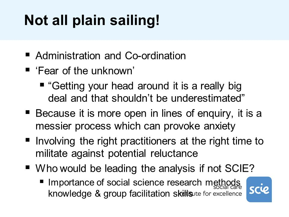 Not all plain sailing! Administration and Co-ordination Fear of the unknown Getting your head around it is a really big deal and that shouldnt be unde