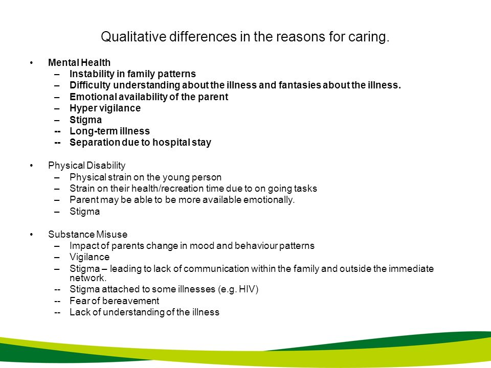 Qualitative differences in the reasons for caring. Mental Health –Instability in family patterns –Difficulty understanding about the illness and fanta