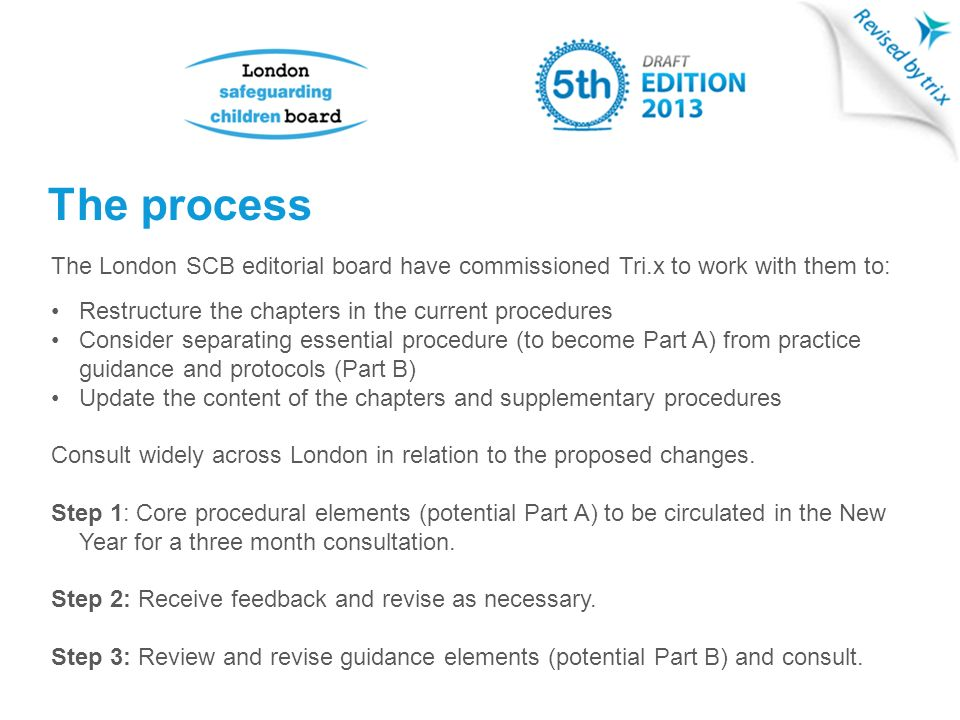 The process The London SCB editorial board have commissioned Tri.x to work with them to: Restructure the chapters in the current procedures Consider separating essential procedure (to become Part A) from practice guidance and protocols (Part B) Update the content of the chapters and supplementary procedures Consult widely across London in relation to the proposed changes.