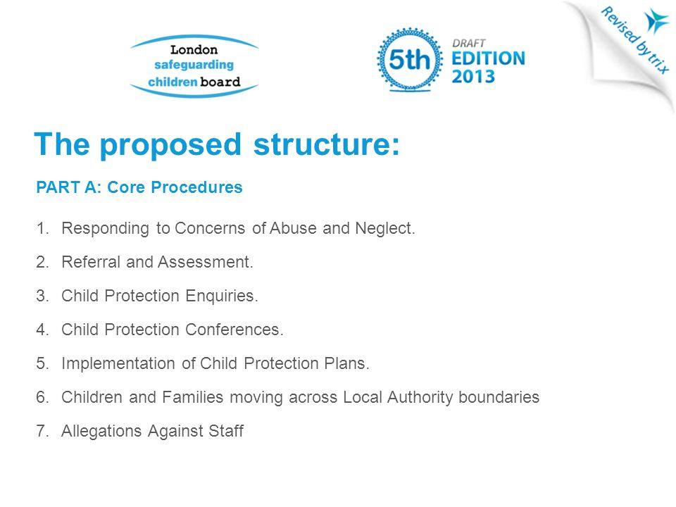 PART A: Core Procedures 1.Responding to Concerns of Abuse and Neglect.