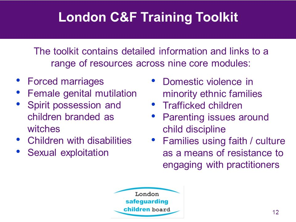 12 The toolkit contains detailed information and links to a range of resources across nine core modules: London C&F Training Toolkit Domestic violence