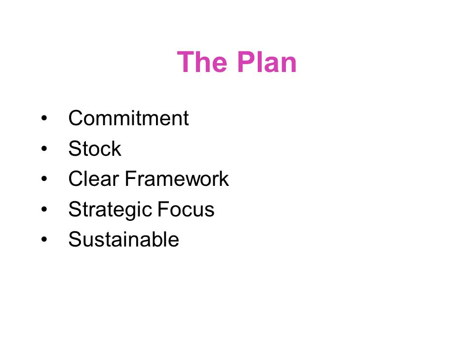 A1 The Plan Commitment Stock Clear Framework Strategic Focus Sustainable