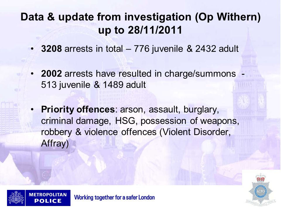Data & update from investigation (Op Withern) up to 28/11/2011 3208 arrests in total – 776 juvenile & 2432 adult 2002 arrests have resulted in charge/