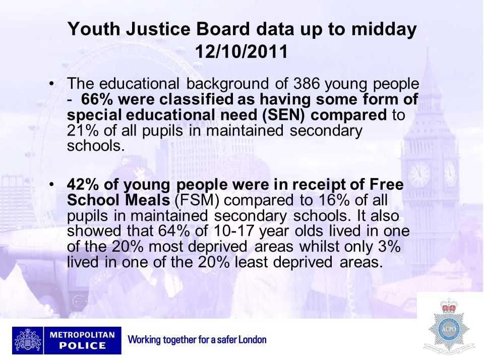 Youth Justice Board data up to midday 12/10/2011 The educational background of 386 young people - 66% were classified as having some form of special e