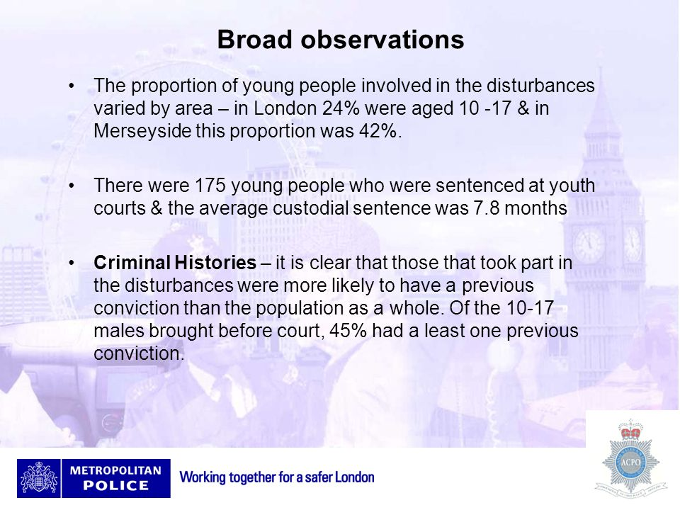 Broad observations Ethnicity – 41% of young people brought before the courts were from a white ethnic background, 47% from a black or mixed black ethnic background, 6% from an Asian background & 6% from other backgrounds Socio economic factors – Young people appearing before the courts came disproportionately from areas with high levels of deprivation.