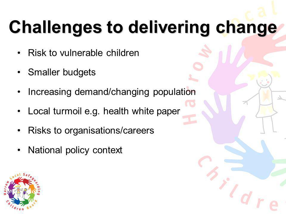 Challenges to delivering change Risk to vulnerable children Smaller budgets Increasing demand/changing population Local turmoil e.g. health white pape