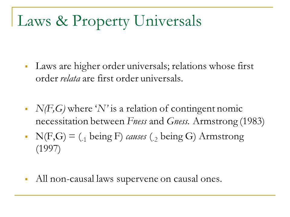 Laws & Property Universals Laws are higher order universals; relations whose first order relata are first order universals. N(F,G) where N is a relati