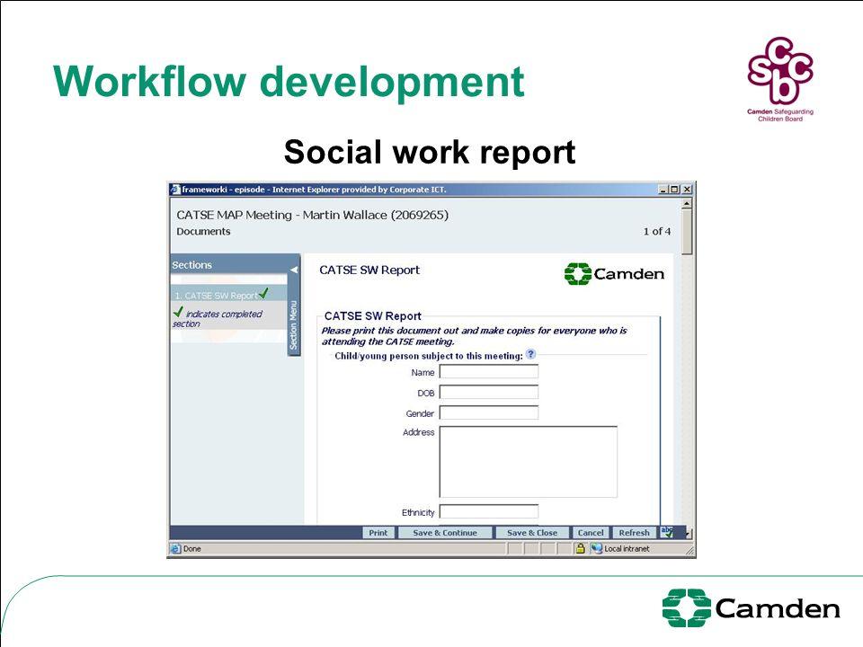 Workflow development Social work report