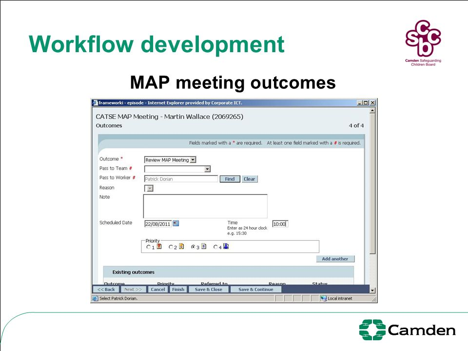 Workflow development MAP meeting outcomes