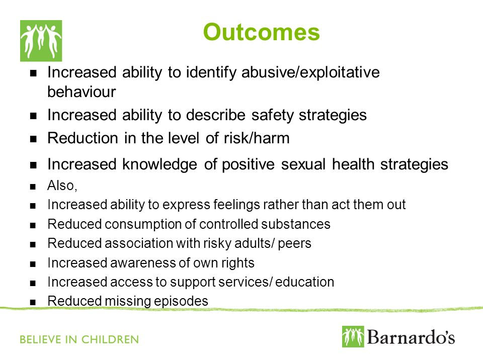 Outcomes Increased ability to identify abusive/exploitative behaviour Increased ability to describe safety strategies Reduction in the level of risk/h