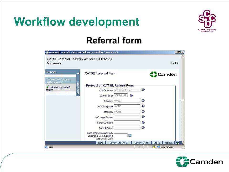 Workflow development Referral form