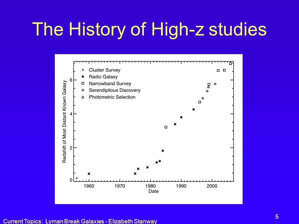 Current Topics: Lyman Break Galaxies - Elizabeth Stanway 5 The History of High-z studies