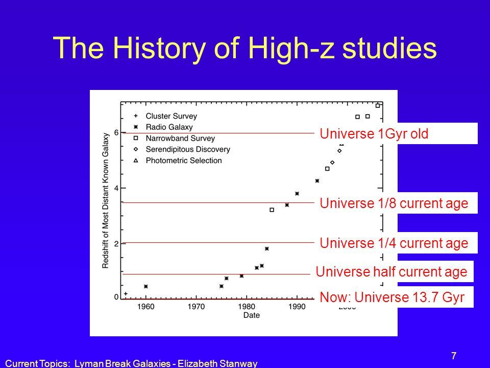 Current Topics: Lyman Break Galaxies - Elizabeth Stanway 7 The History of High-z studies Universe half current age Universe 1/4 current age Universe 1