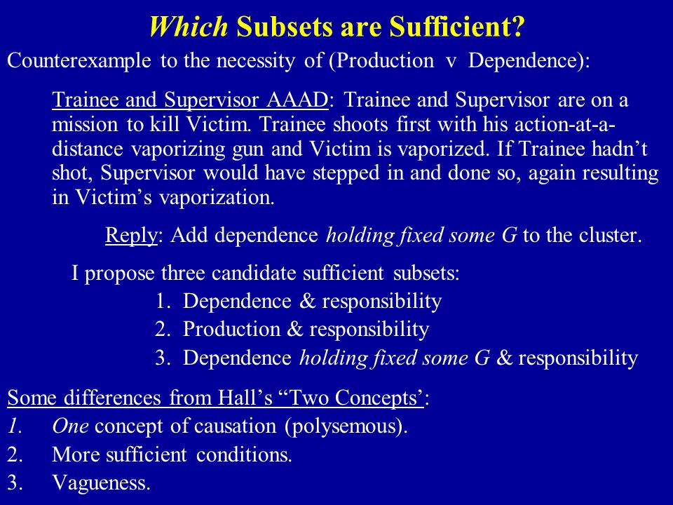 Which Subsets are Sufficient.