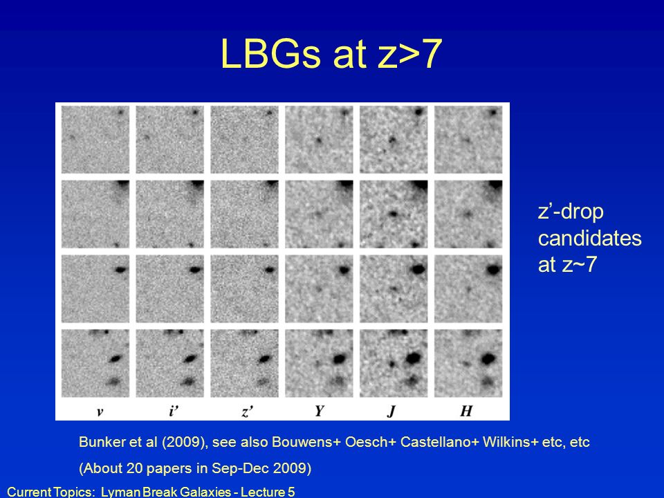 Current Topics: Lyman Break Galaxies - Lecture 5 LBGs at z>7 Bunker et al (2009), see also Bouwens+ Oesch+ Castellano+ Wilkins+ etc, etc (About 20 papers in Sep-Dec 2009) z-drop candidates at z~7