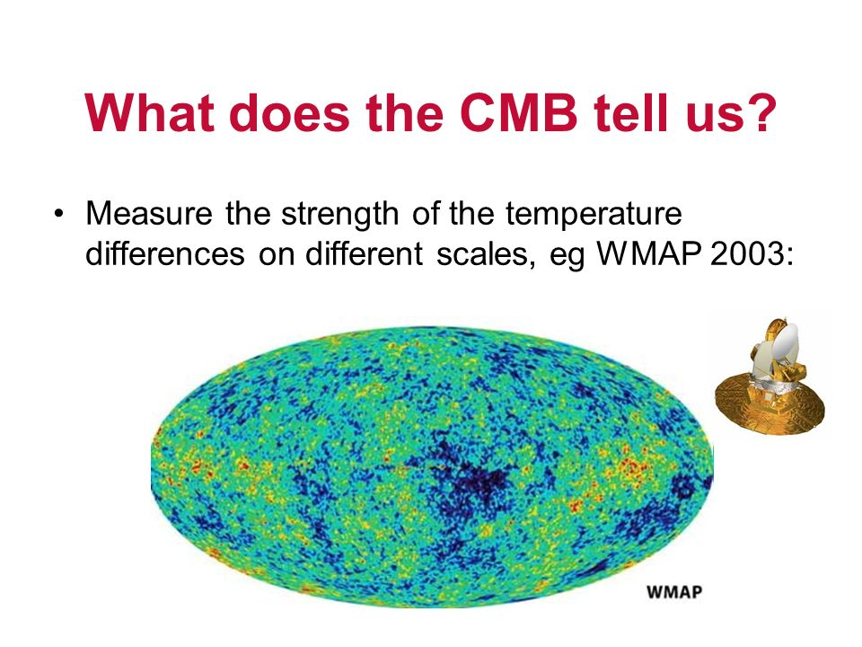 What does the CMB tell us? Measure the strength of the temperature differences on different scales, eg WMAP 2003: