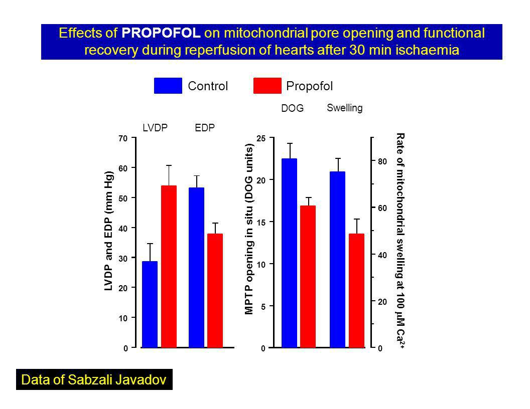 Effects of PROPOFOL on mitochondrial pore opening and functional recovery during reperfusion of hearts after 30 min ischaemia LVDPEDP Control 0 10 20