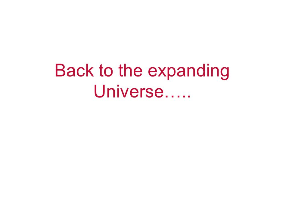 Back to the expanding Universe…..