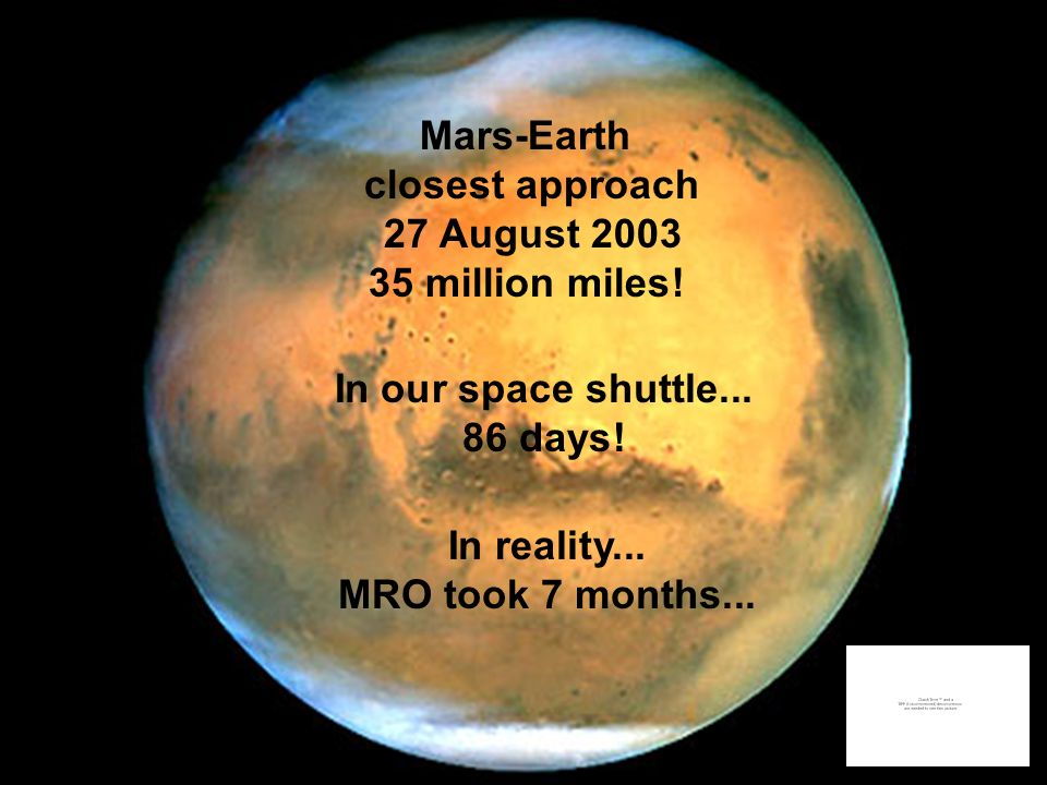Mars-Earth closest approach 27 August 2003 35 million miles! In our space shuttle... 86 days! In reality... MRO took 7 months...