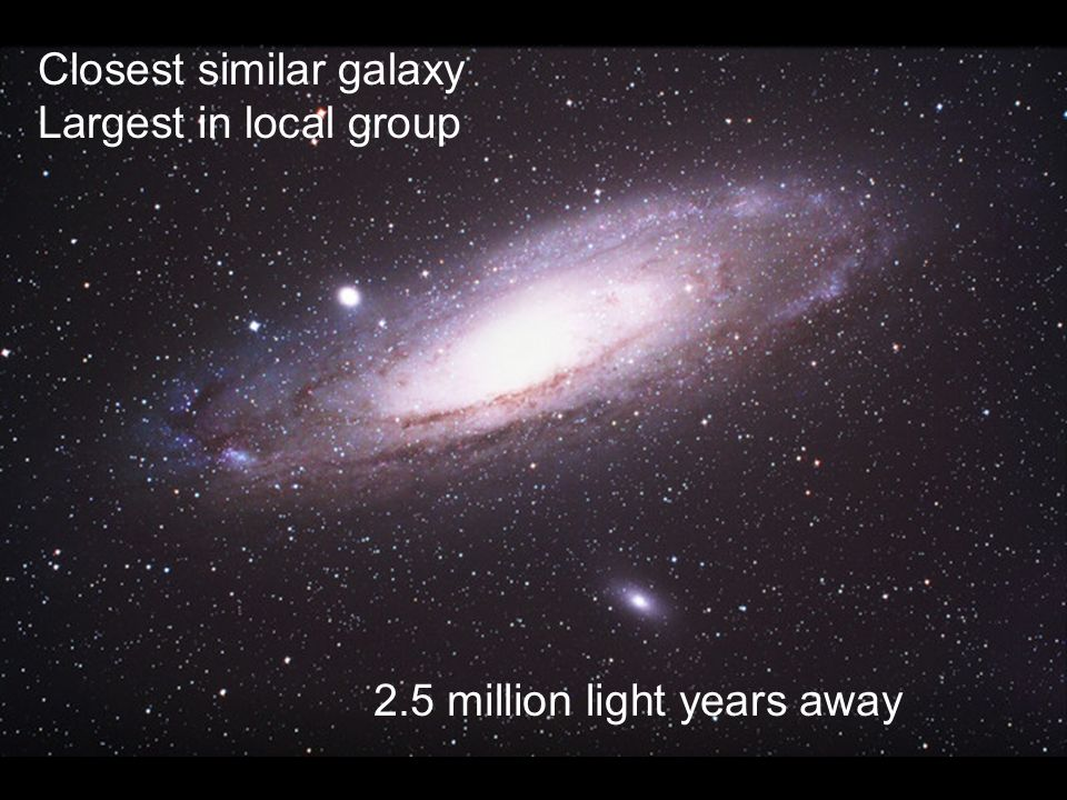 Closest similar galaxy Largest in local group 2.5 million light years away