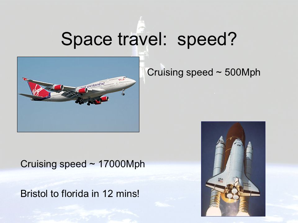 Space travel: speed? Cruising speed ~ 500Mph Cruising speed ~ 17000Mph Bristol to florida in 12 mins!