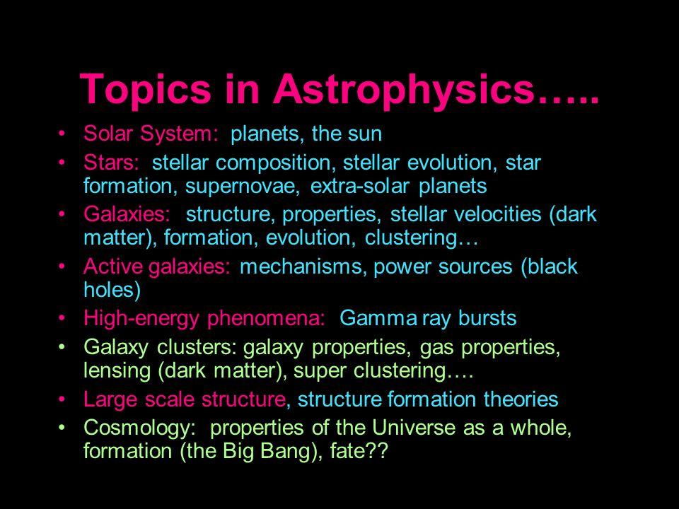 Topics in Astrophysics….. Solar System: planets, the sun Stars: stellar composition, stellar evolution, star formation, supernovae, extra-solar planet