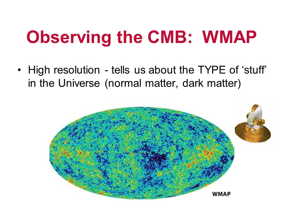 Observing the CMB: WMAP High resolution - tells us about the TYPE of stuff in the Universe (normal matter, dark matter)