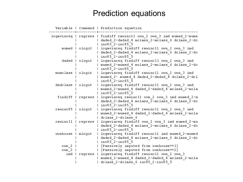 Prediction equations