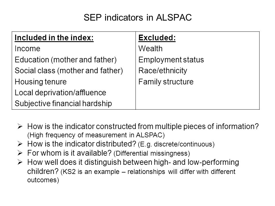SEP indicators in ALSPAC Included in the index: Income Education (mother and father) Social class (mother and father) Housing tenure Local deprivation/affluence Subjective financial hardship Excluded: Wealth Employment status Race/ethnicity Family structure How is the indicator constructed from multiple pieces of information.