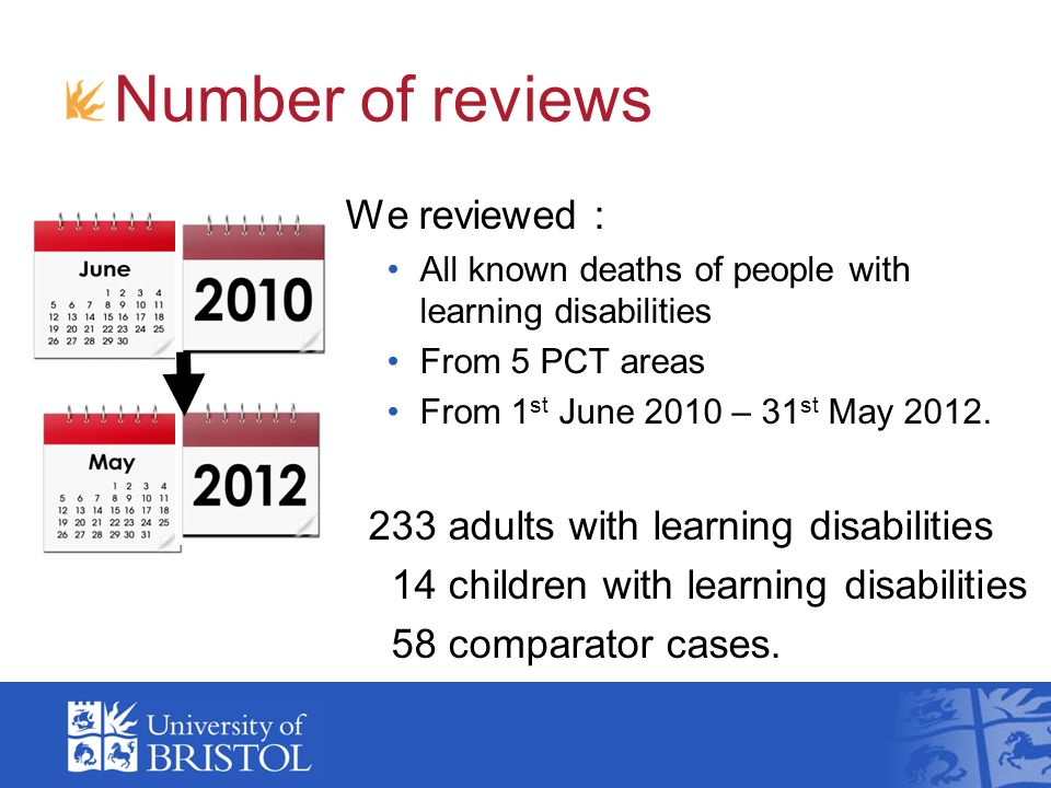 Number of reviews We reviewed : All known deaths of people with learning disabilities From 5 PCT areas From 1 st June 2010 – 31 st May 2012.