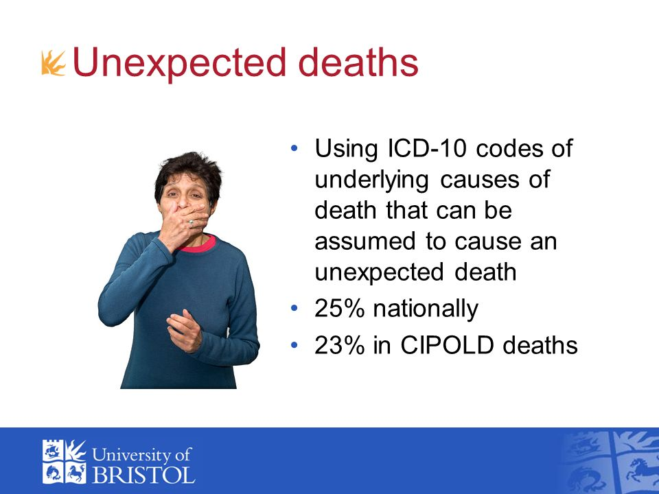 Unexpected deaths Using ICD-10 codes of underlying causes of death that can be assumed to cause an unexpected death 25% nationally 23% in CIPOLD deaths