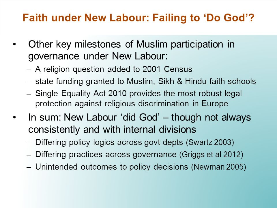 Faith under New Labour: Failing to Do God? Other key milestones of Muslim participation in governance under New Labour: –A religion question added to