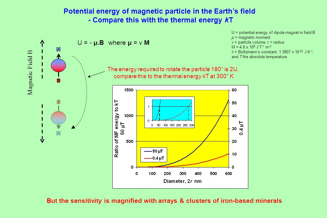 U = - μ.B where μ = v M U = potential energy of dipole magnet in field B = magnetic moment v = particle volume; r = radius M = 4.8 x 10 5 J T -1 m -3